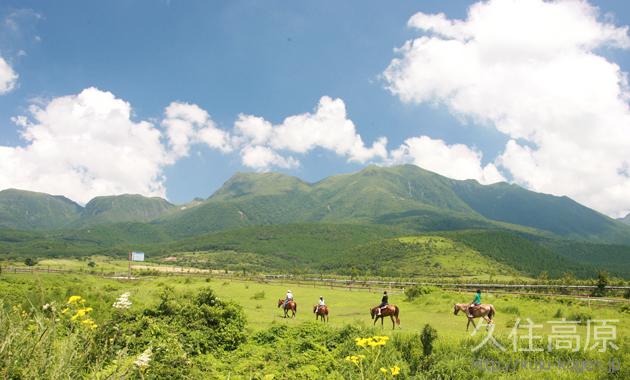 久住高原で乗馬を楽しむ